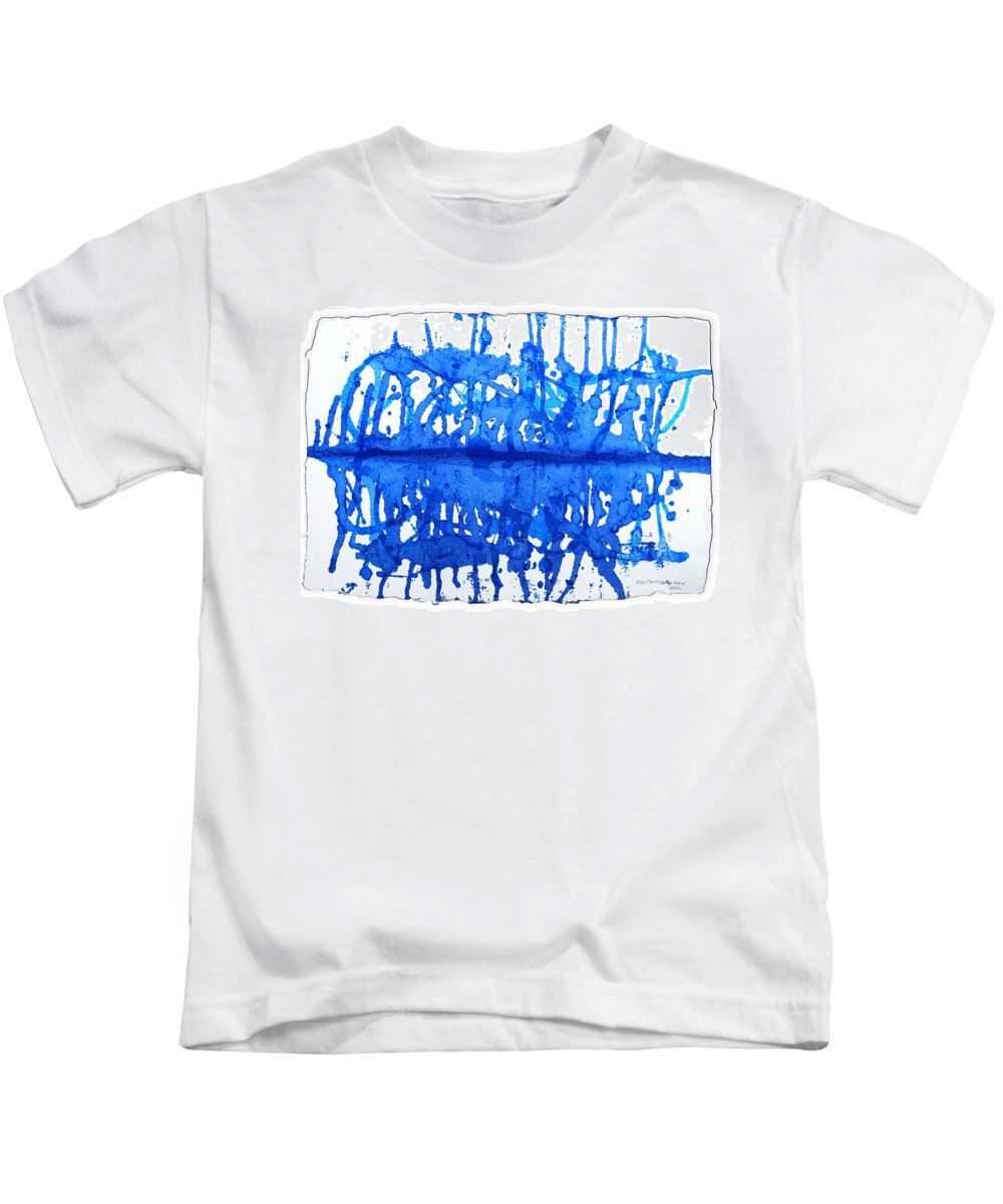 Water Variation Kids T-Shirt featuring the painting Water Variations 12 by Rozita Fogelman