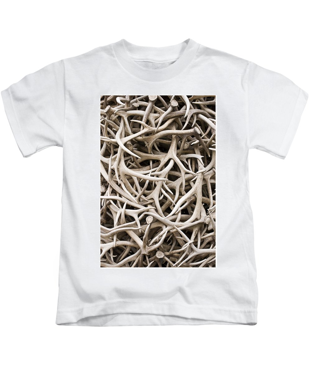 Abstract Kids T-Shirt featuring the photograph Weathered Elk Antlers by Gene Norris