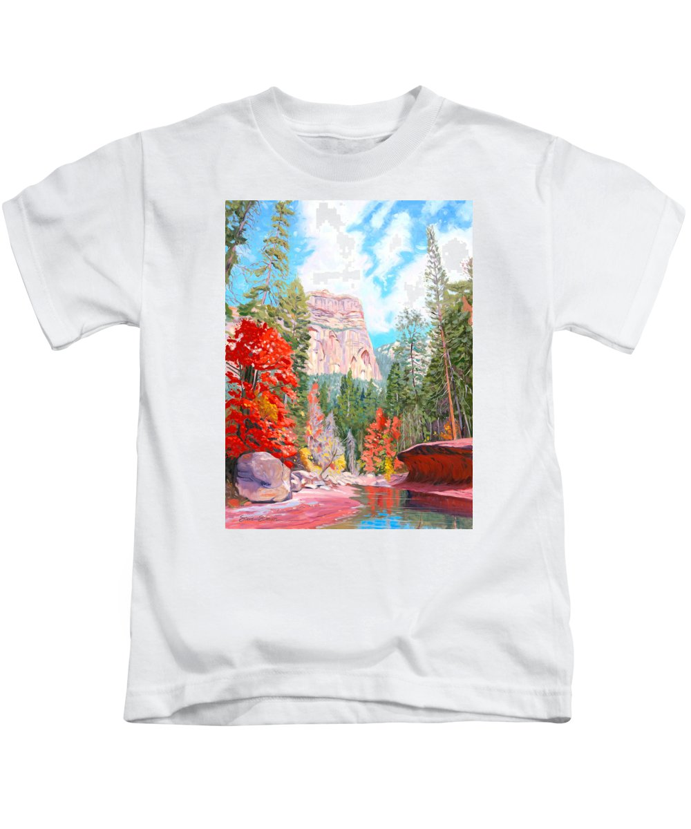 Sedona Kids T-Shirt featuring the painting West Fork - Sedona by Steve Simon