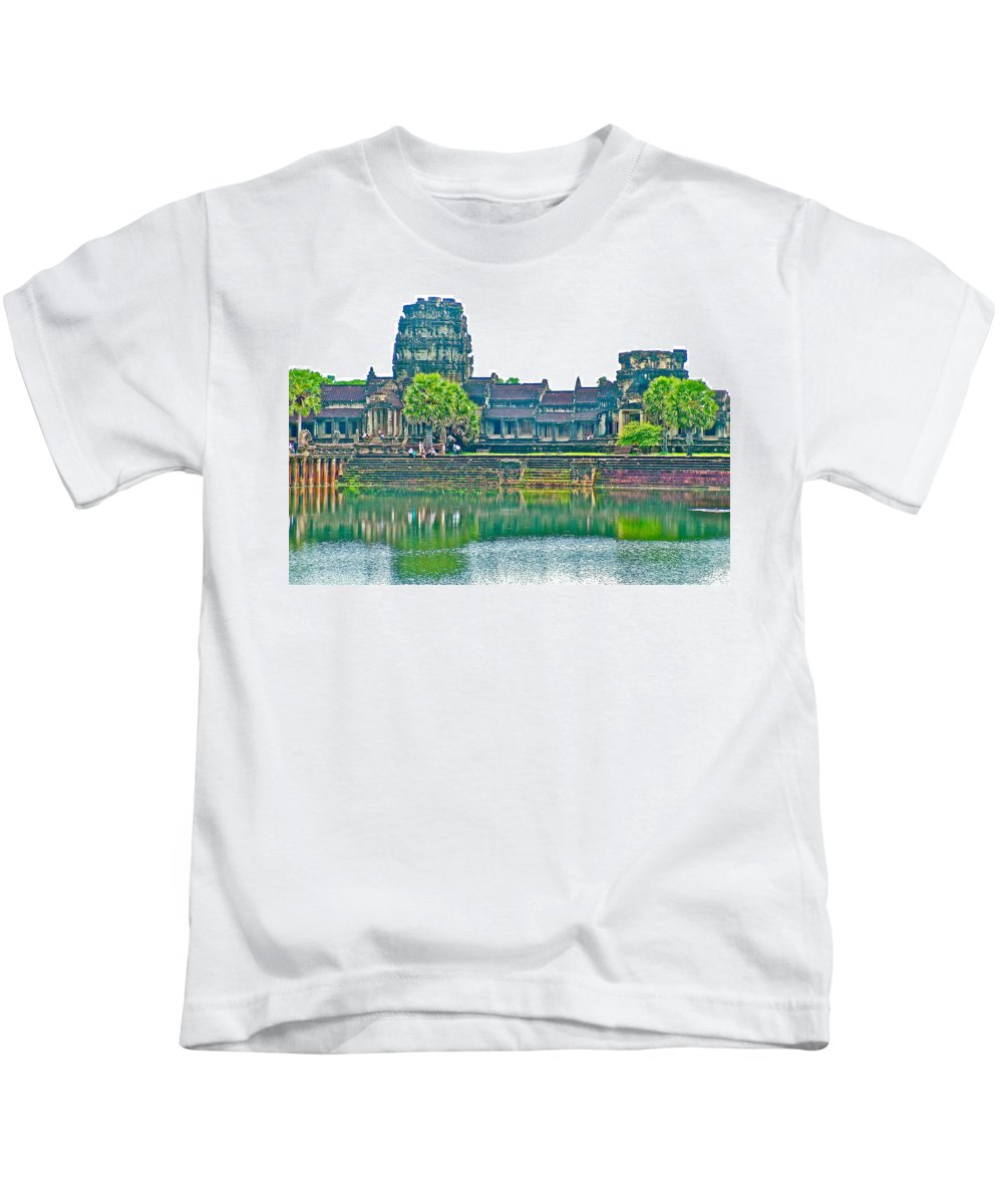 West Gallery From Across Moat In Angkor Wat In Angkor Wat Archeological Park Near Siem Reap Kids T-Shirt featuring the photograph West Gallery From Across Moat In Angkor Wat In Angkor Wat Archeological Park Near Siem Reap-cambodia by Ruth Hager