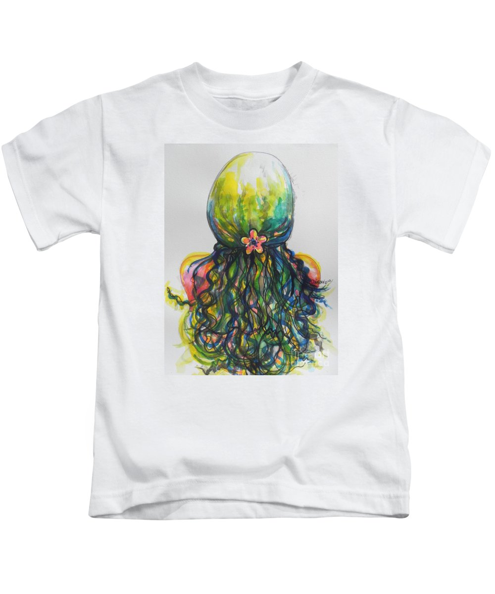 Watercolors Kids T-Shirt featuring the painting What Lies Ahead Series...tangled Up by Chrisann Ellis