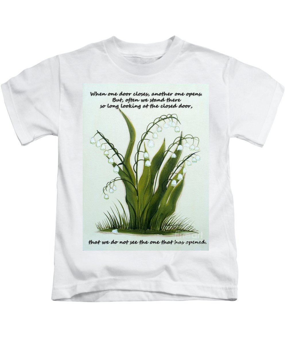When One Door Closes Kids T-Shirt featuring the painting When One Door Closes by Barbara Griffin