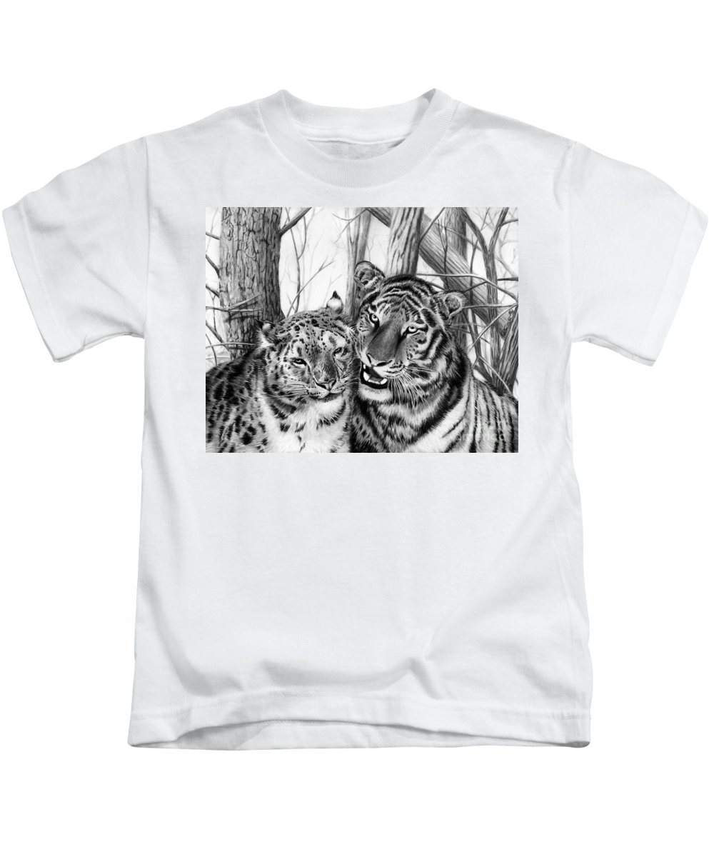 When Two Hearts Collide Kids T-Shirt featuring the drawing When Two Hearts Collide by Peter Piatt