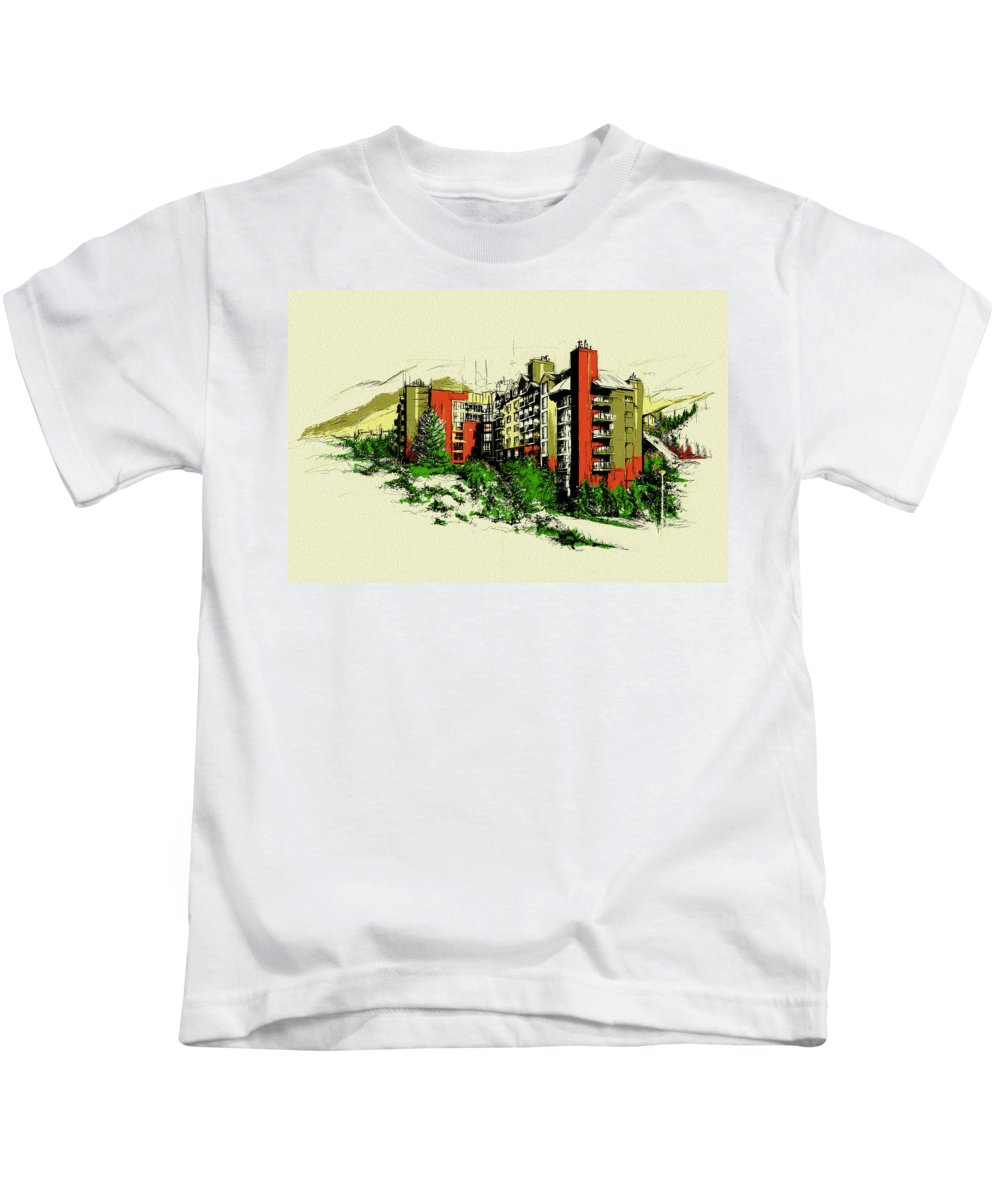 Vancouver Kids T-Shirt featuring the painting Whistler Art 004 by Catf
