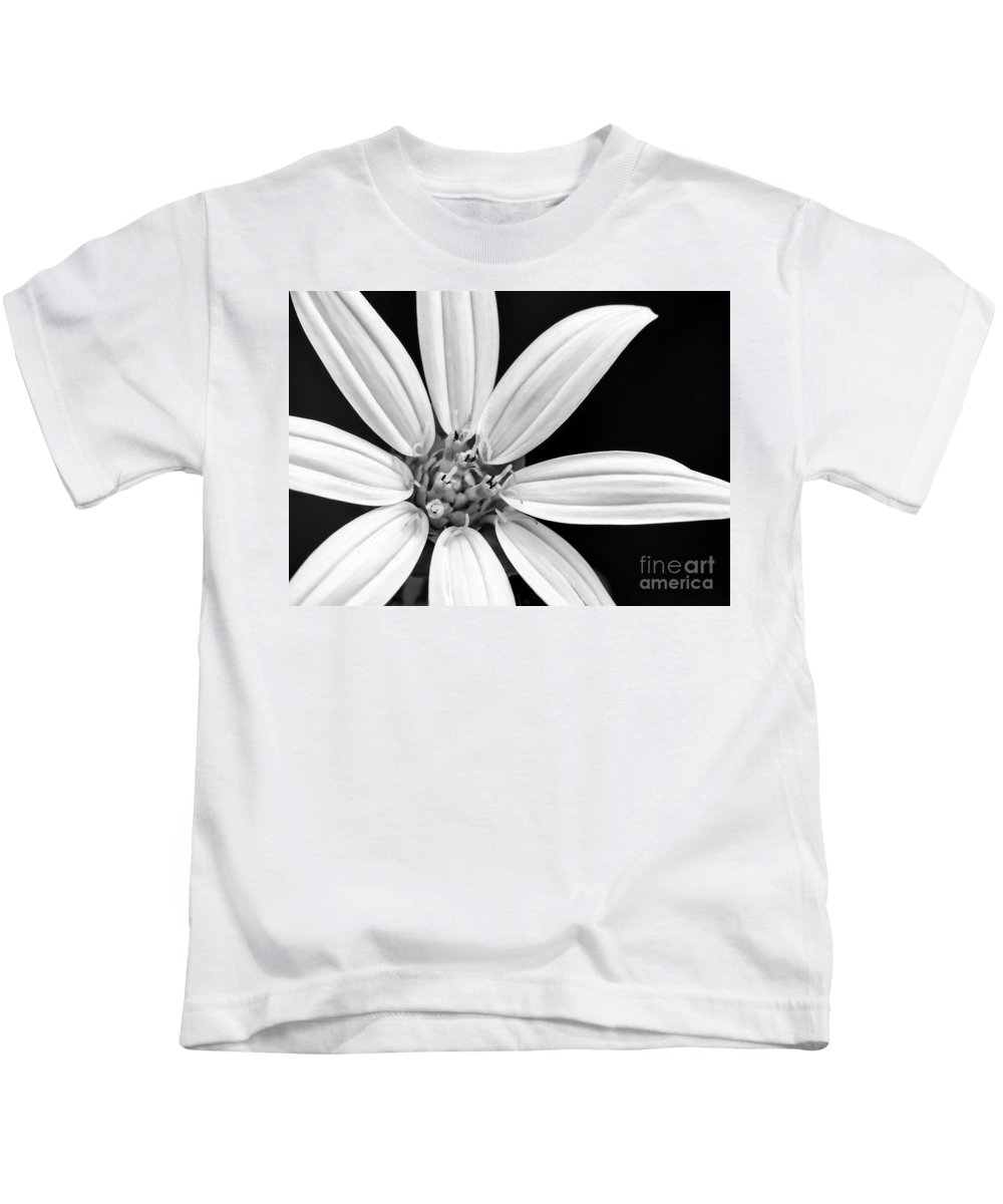 Macro Kids T-Shirt featuring the photograph White And Black Flower Close Up by Sabrina L Ryan