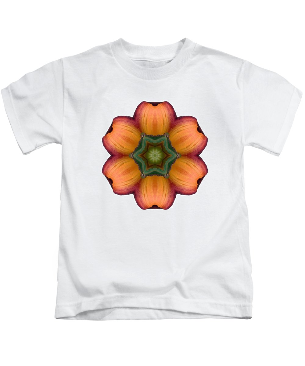 Flower Kids T-Shirt featuring the photograph Daylily I Flower Mandala White by David J Bookbinder