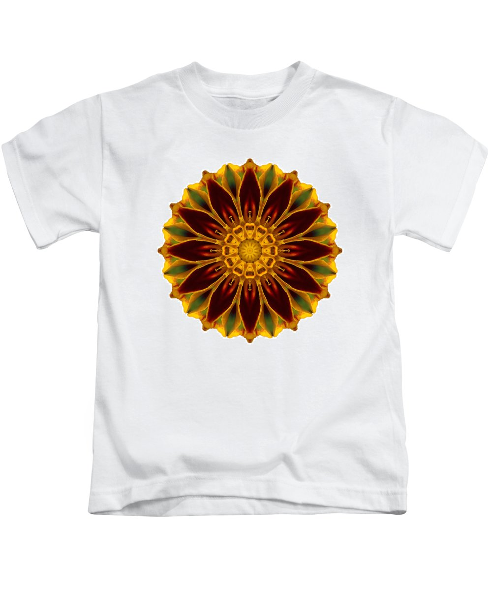 Flower Kids T-Shirt featuring the photograph Deep Orange Marigold V Flower Mandala White by David J Bookbinder