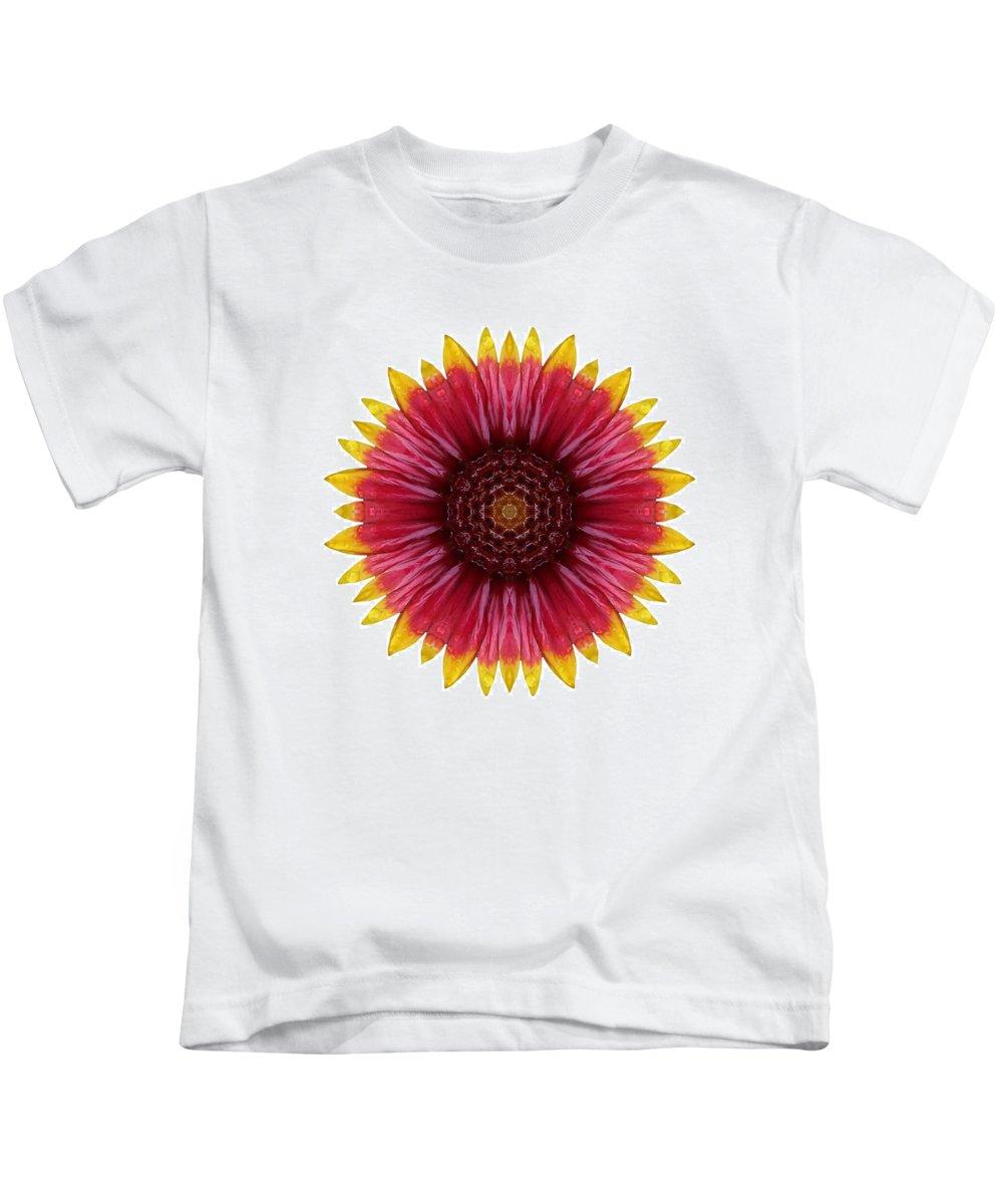 Flower Kids T-Shirt featuring the photograph Galliardia Arizona Sun I Flower Mandala White by David J Bookbinder
