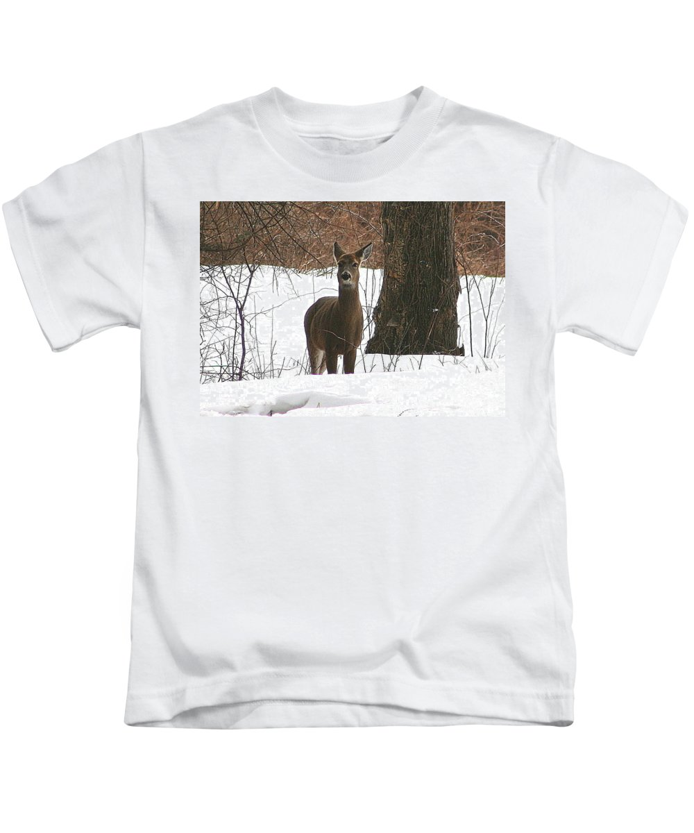 Deer Kids T-Shirt featuring the photograph White-tailed Winter Stand by Neal Eslinger