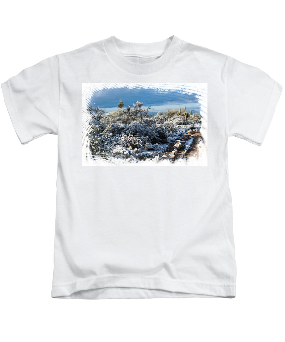 Desert Kids T-Shirt featuring the photograph White Winter In The Desert Of Tucson Arizona by Michael Moriarty