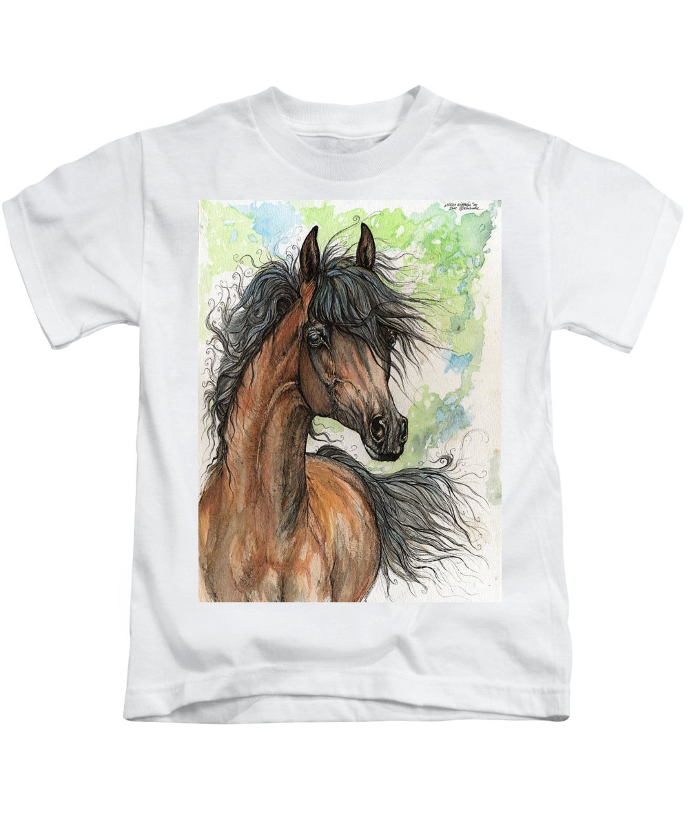 Horse Kids T-Shirt featuring the painting Wieza Wiatrow Polish Arabian Mare Watercolor Painting by Angel Ciesniarska