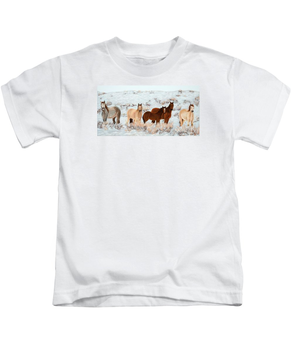Animals Kids T-Shirt featuring the painting Wild Horses by Mary Benke