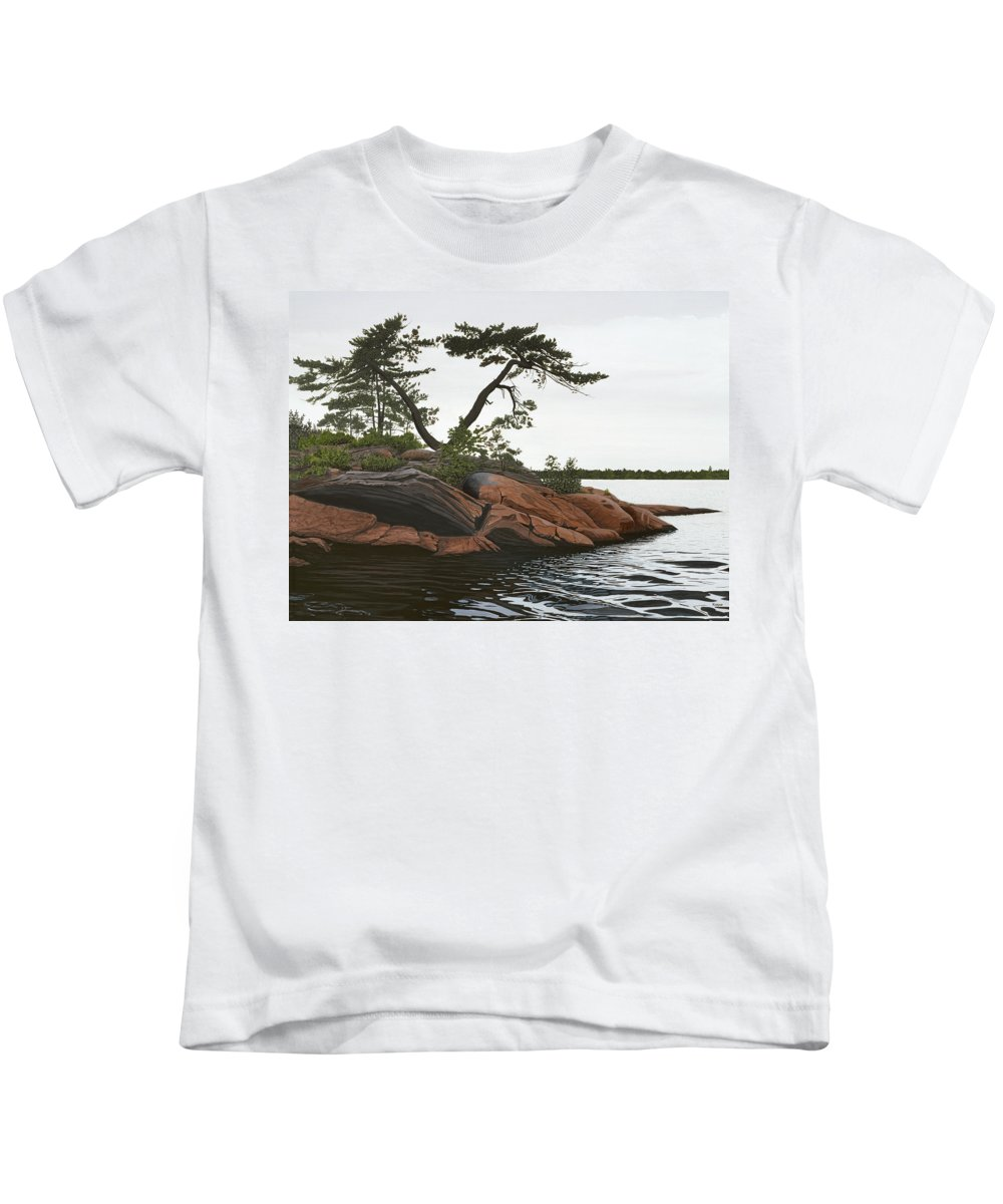 Landscape Paintings Kids T-Shirt featuring the painting Windswept by Kenneth M Kirsch