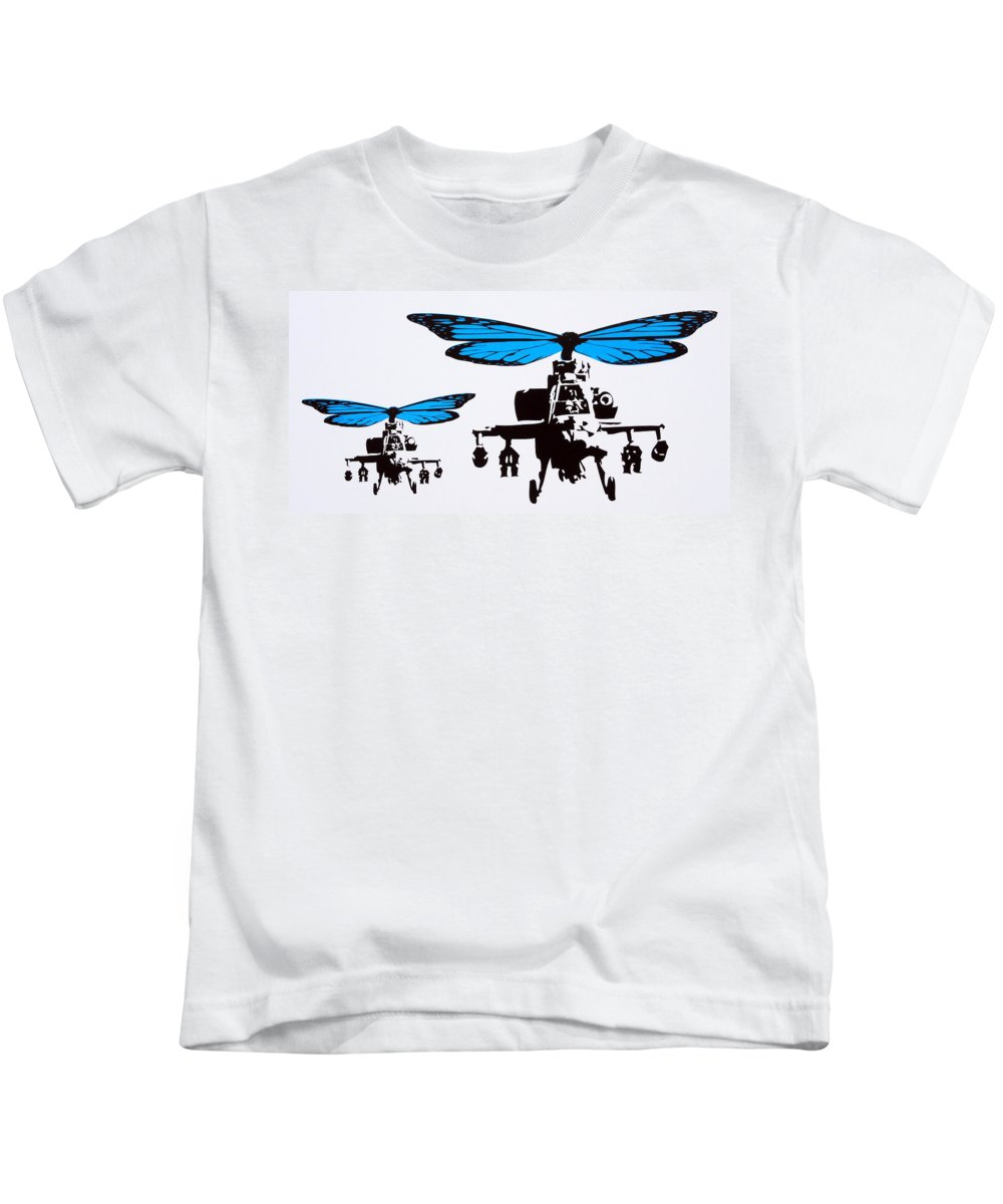Helicopters Kids T-Shirt featuring the mixed media Wingin It - Blue by Sue Rowe