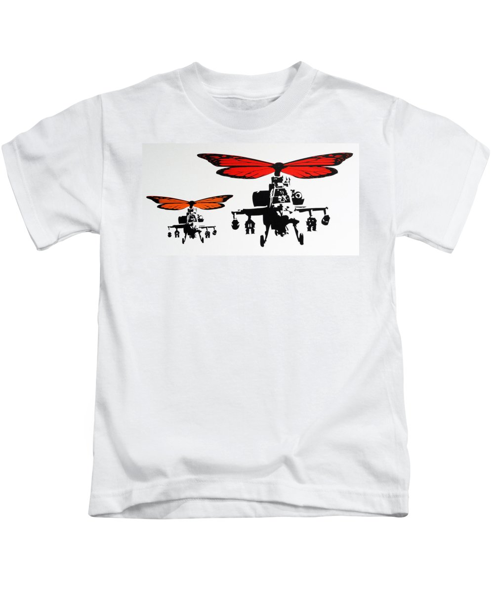 Helicopters Kids T-Shirt featuring the photograph Wingin' It - Orange by Sue Rowe