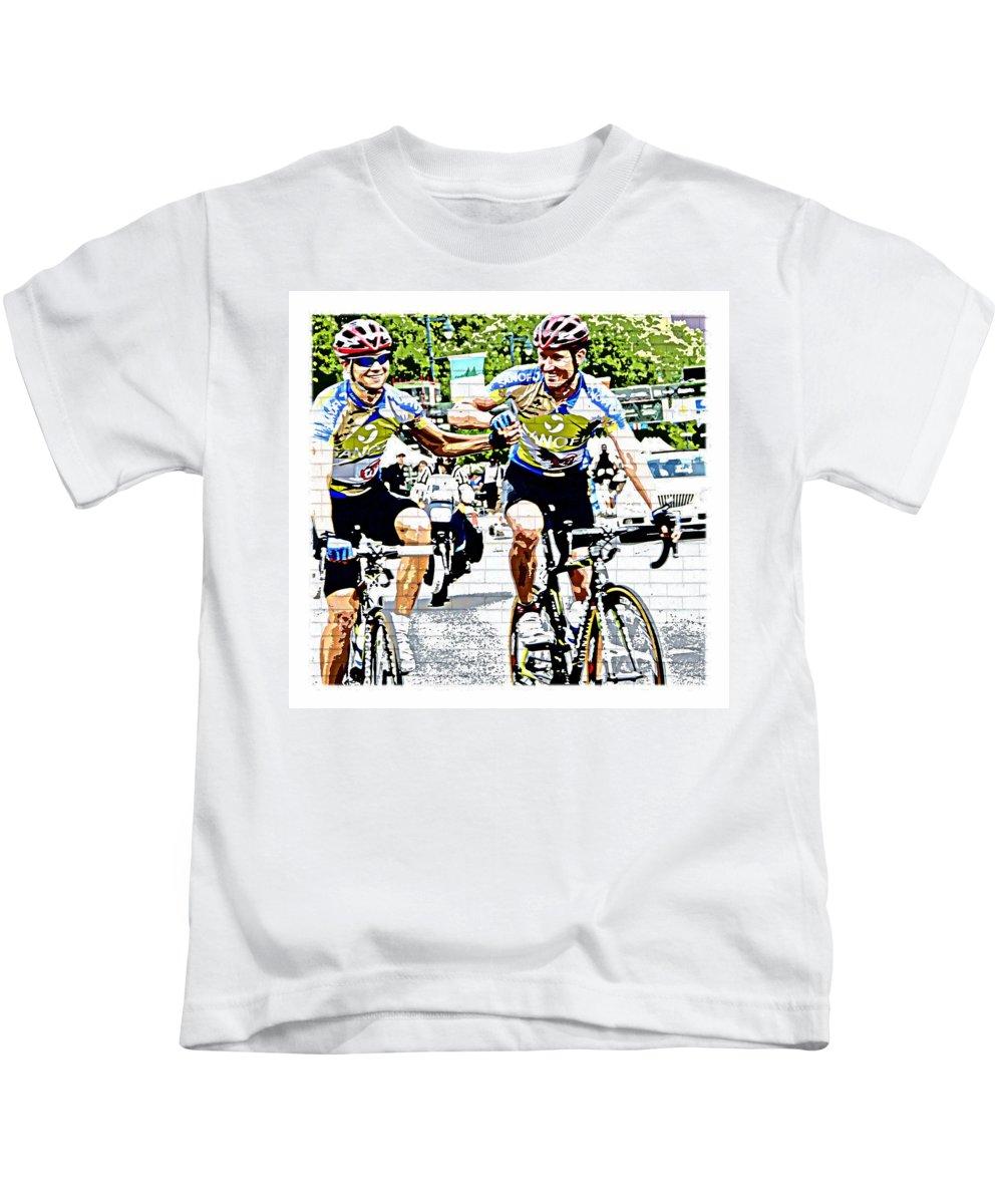 Bike Race Philadelphia Td Bank International Championship 2010 Kids T-Shirt featuring the photograph Winners First by Alice Gipson