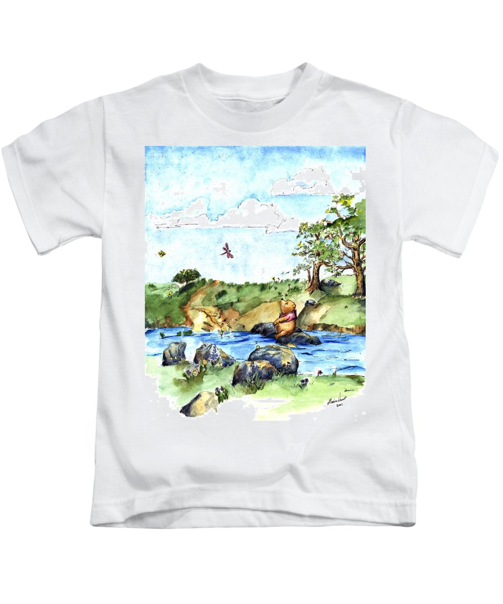 Winnie The Pooh Illustration Kids T-Shirt featuring the painting Imagining The Hunny After E H Shepard by Maria Hunt