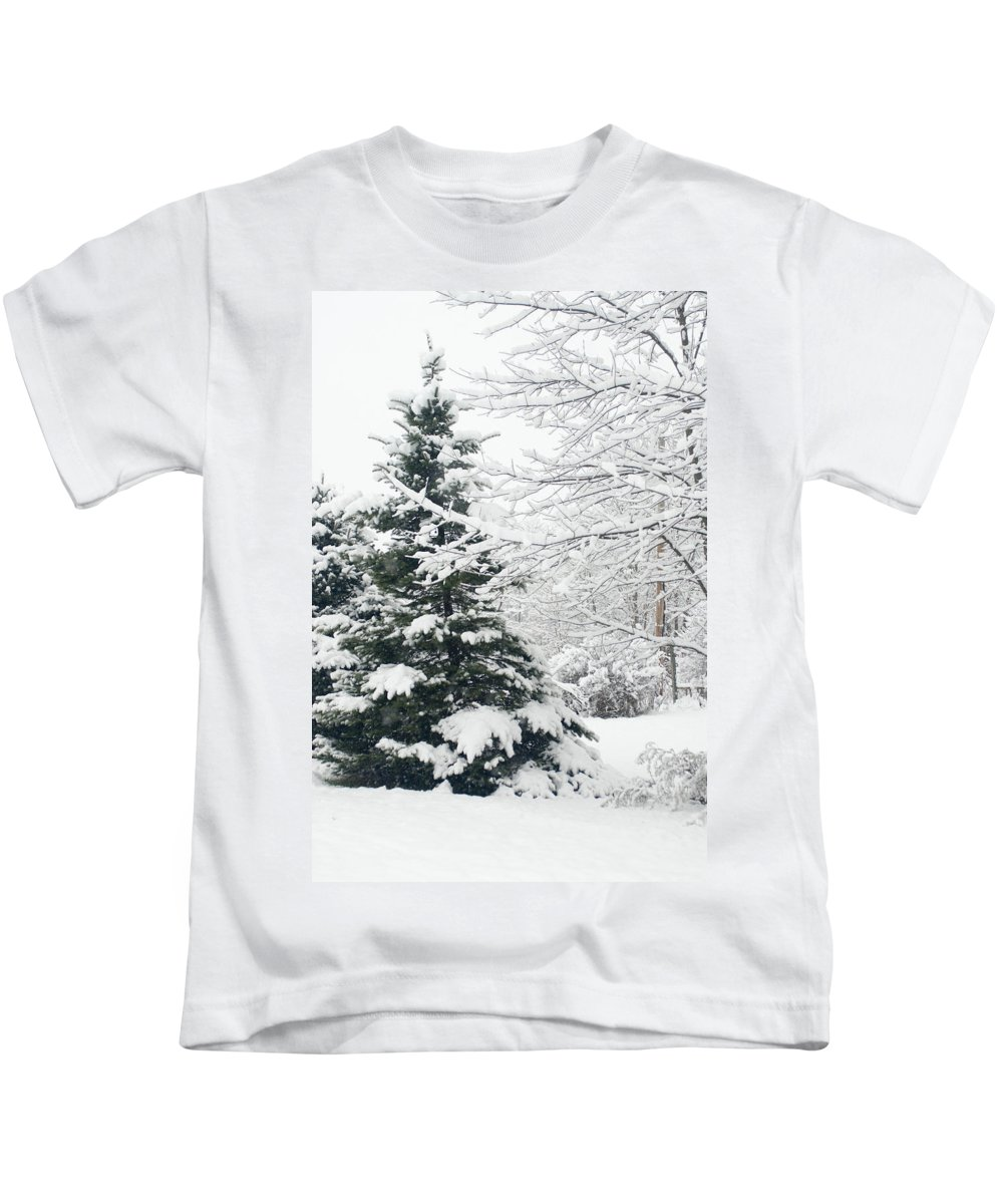 Pine Tree Kids T-Shirt featuring the photograph Winter by Annette Persinger