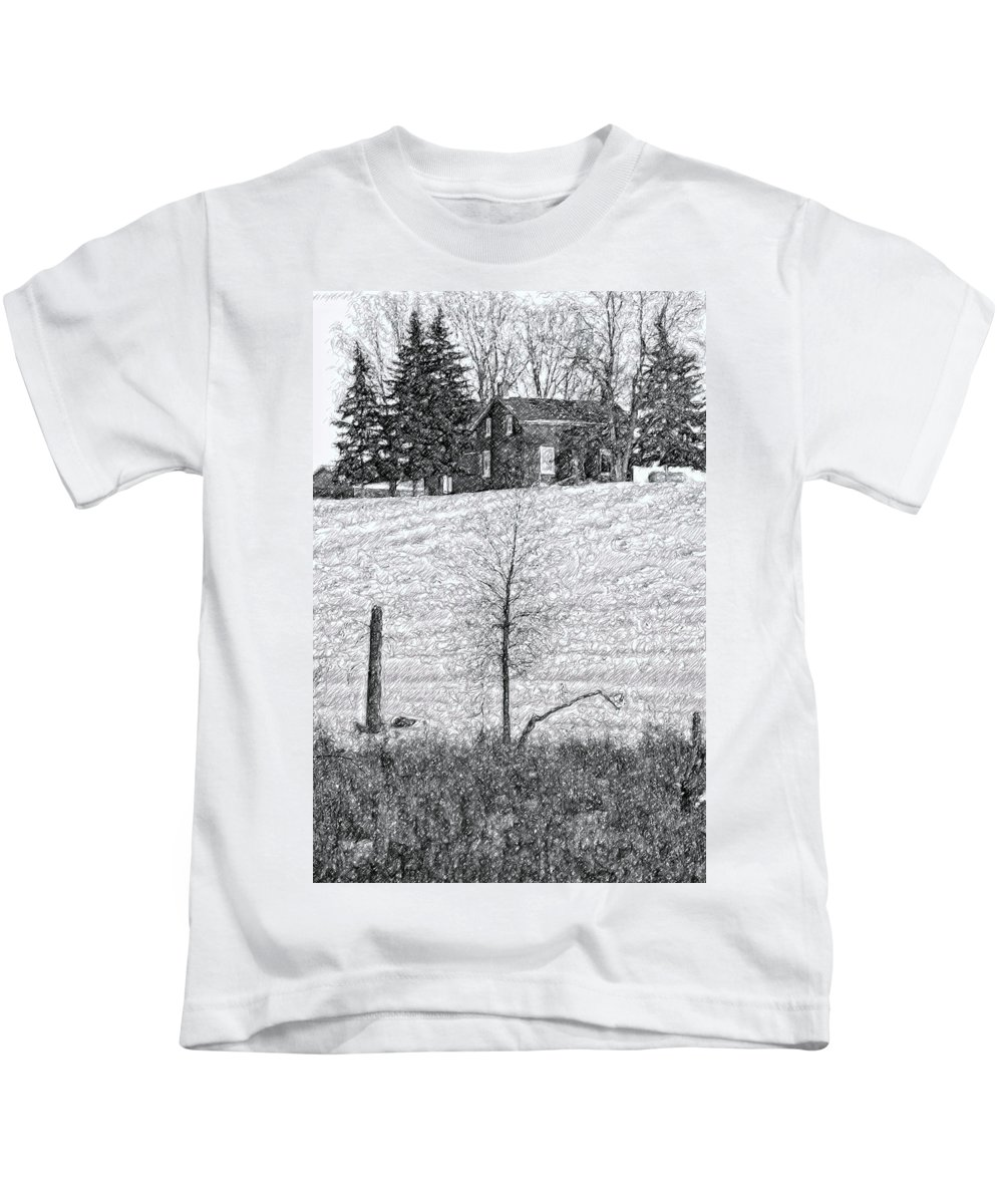 Ontario Kids T-Shirt featuring the photograph Winter Comes by Steve Harrington
