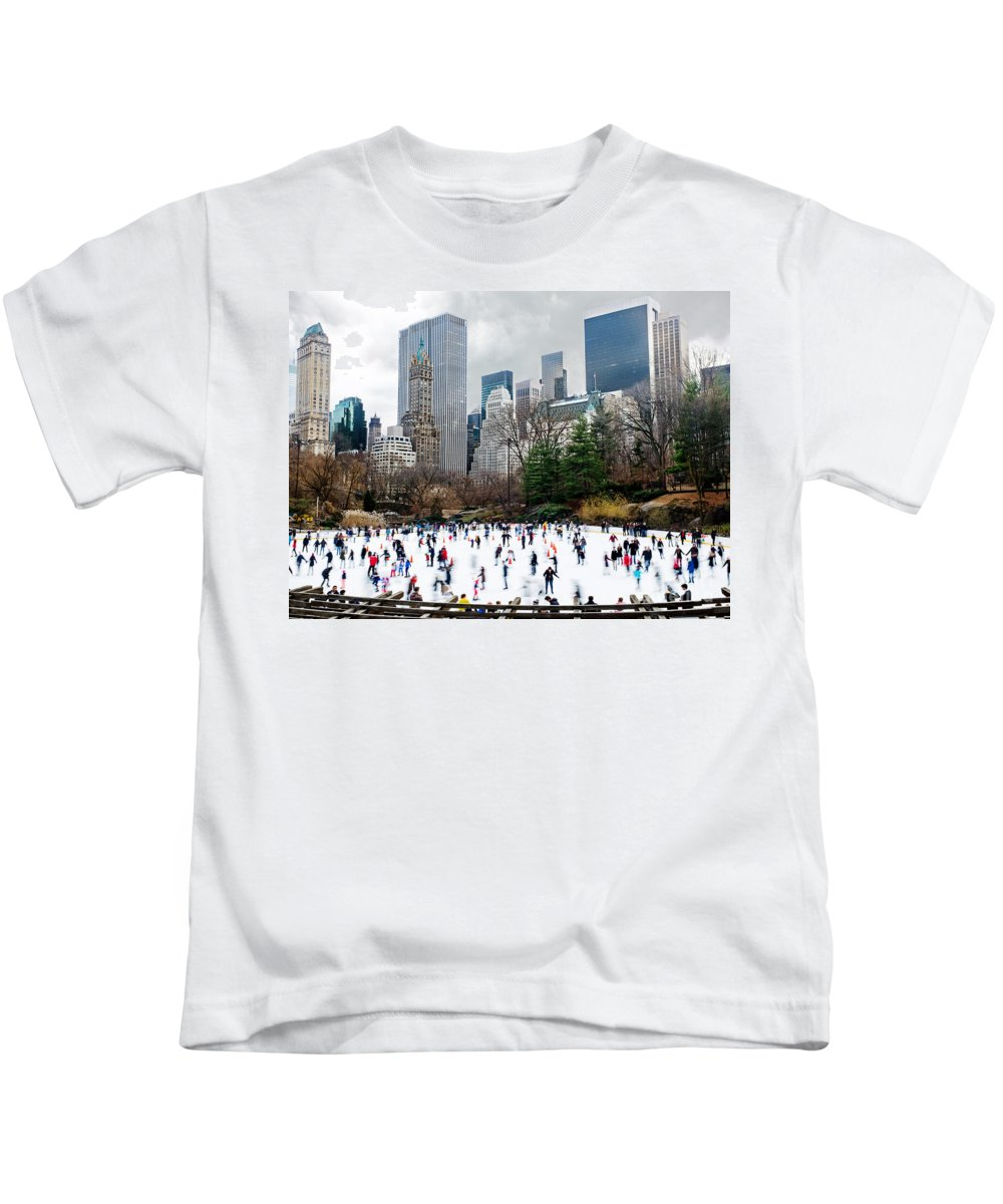 New York City Kids T-Shirt featuring the photograph Winter Fun by Davids Digits