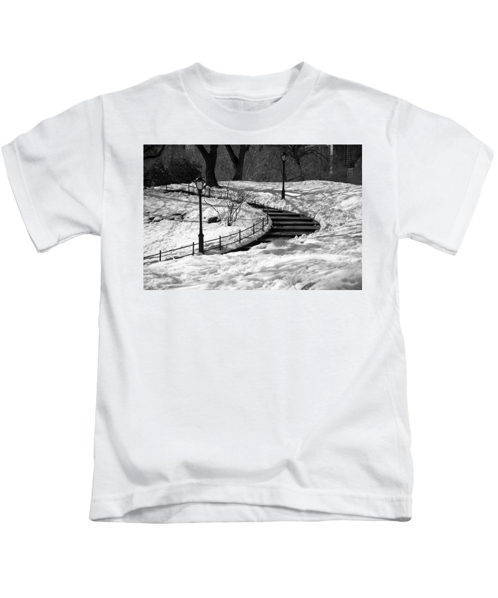 Black And White Kids T-Shirt featuring the photograph Winter In Central Park by Zina Zinchik