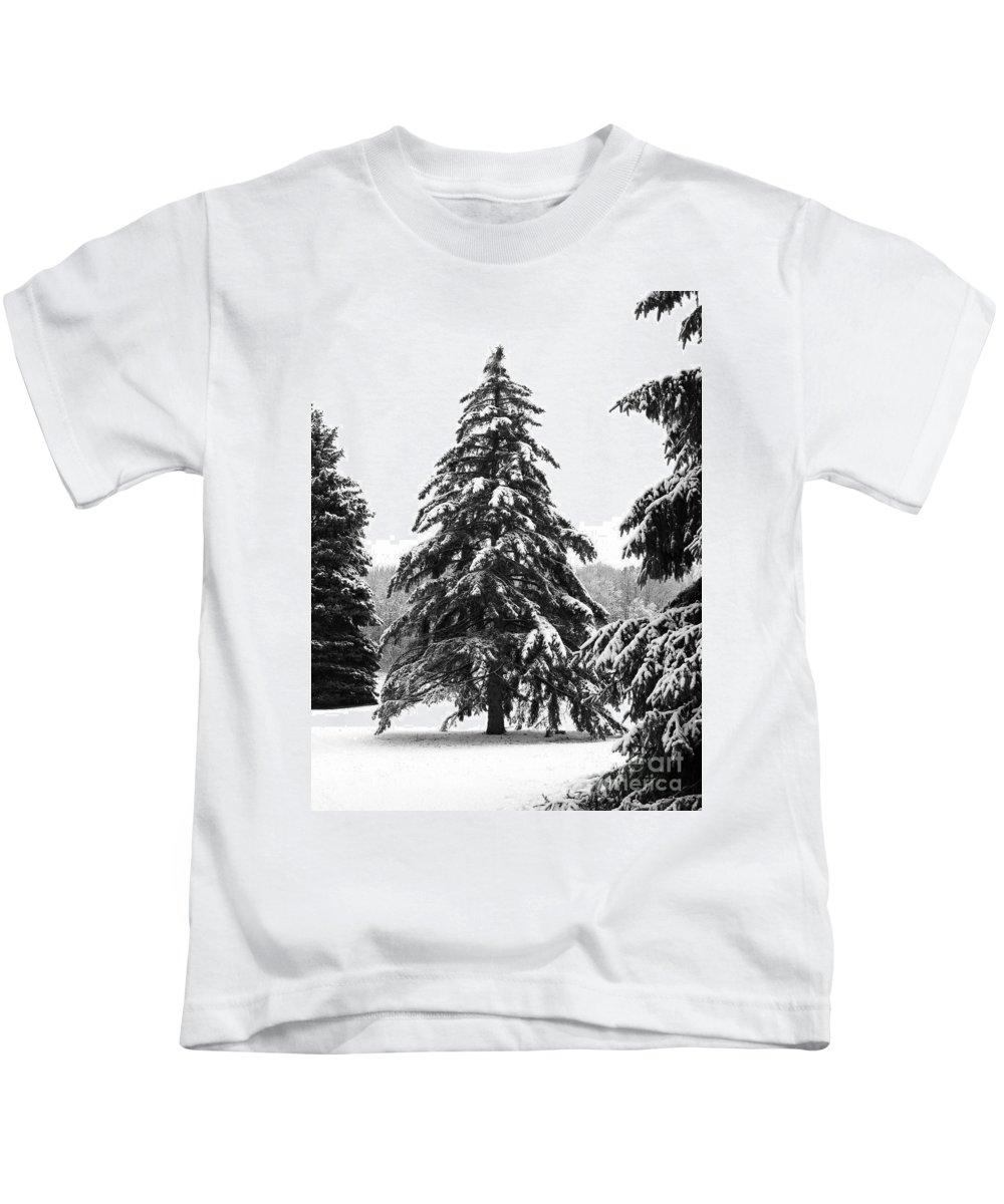 Winter Kids T-Shirt featuring the photograph Winter Pines by Ann Horn