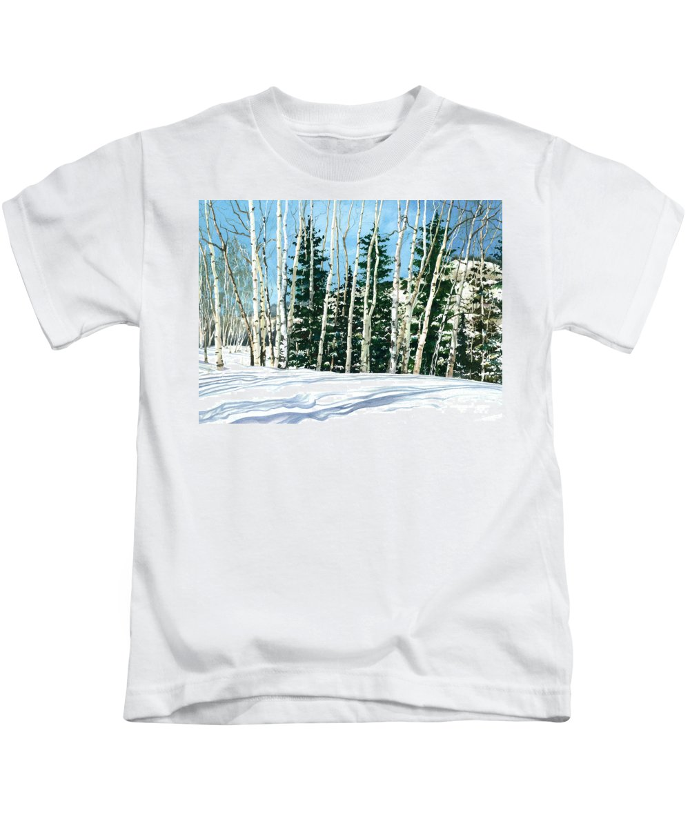 Water Color Paintings Kids T-Shirt featuring the painting Winter Walk by Barbara Jewell