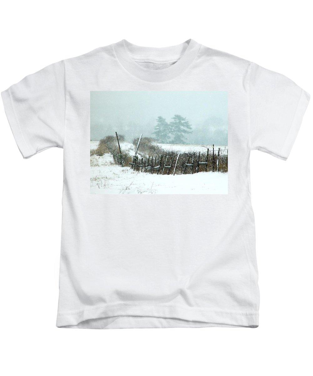 Winter Kids T-Shirt featuring the photograph Winter Wonderland - Amazing Winter Landscape With Snow Falling by James Scott Preston