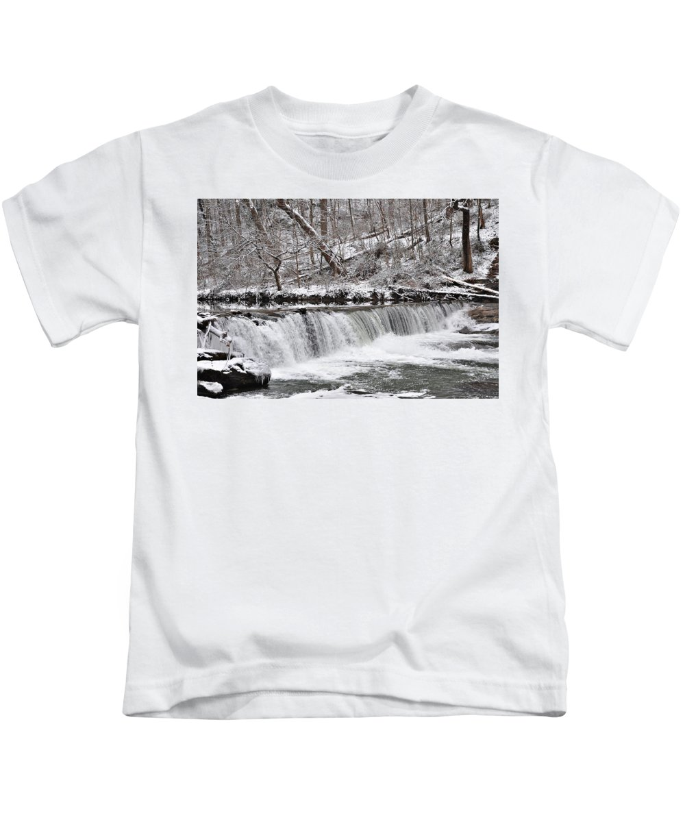 Wissahickon Kids T-Shirt featuring the photograph Wissahickon Waterfall In Winter by Bill Cannon