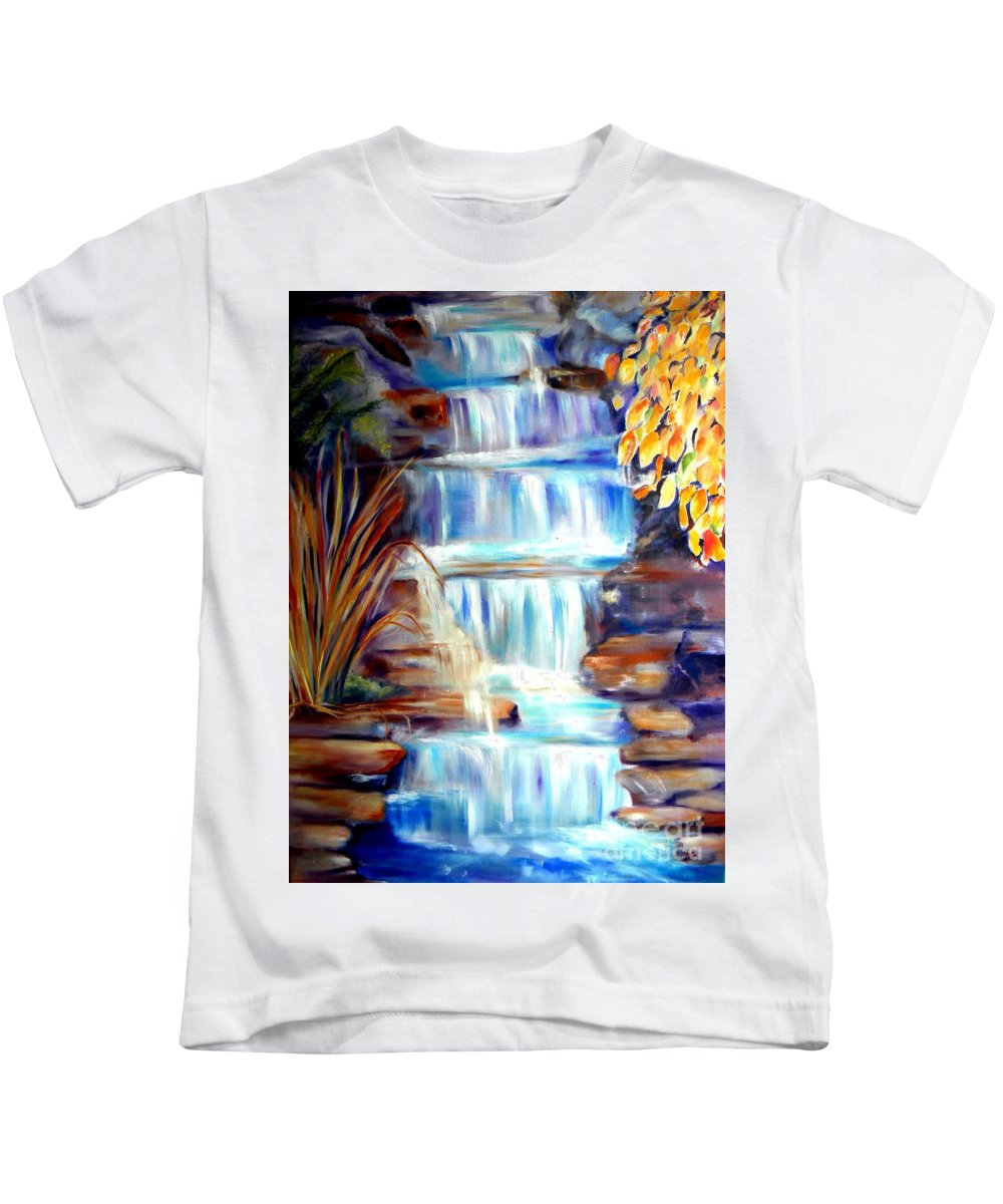 Waterfall Kids T-Shirt featuring the painting Woodland Oasis by Sandy Ryan