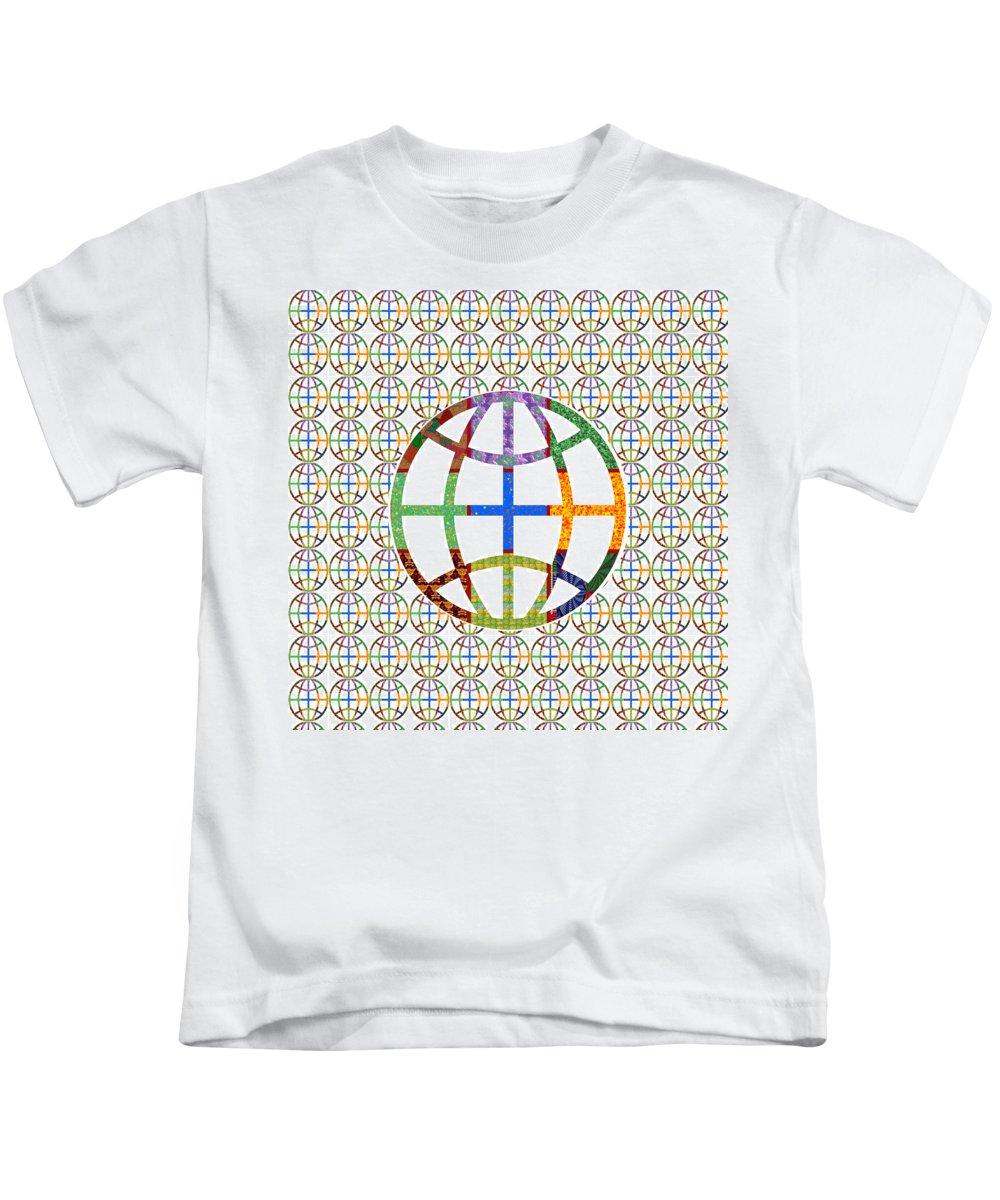 World Kids T-Shirt featuring the mixed media World Globe Earth Travel Graphic Digital Colorful Pattern Signature Art Navinjoshi Artist Created I by Navin Joshi