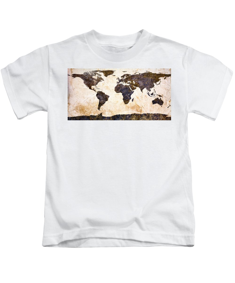 Earth Kids T-Shirt featuring the painting World Map Abstract by Bob Orsillo
