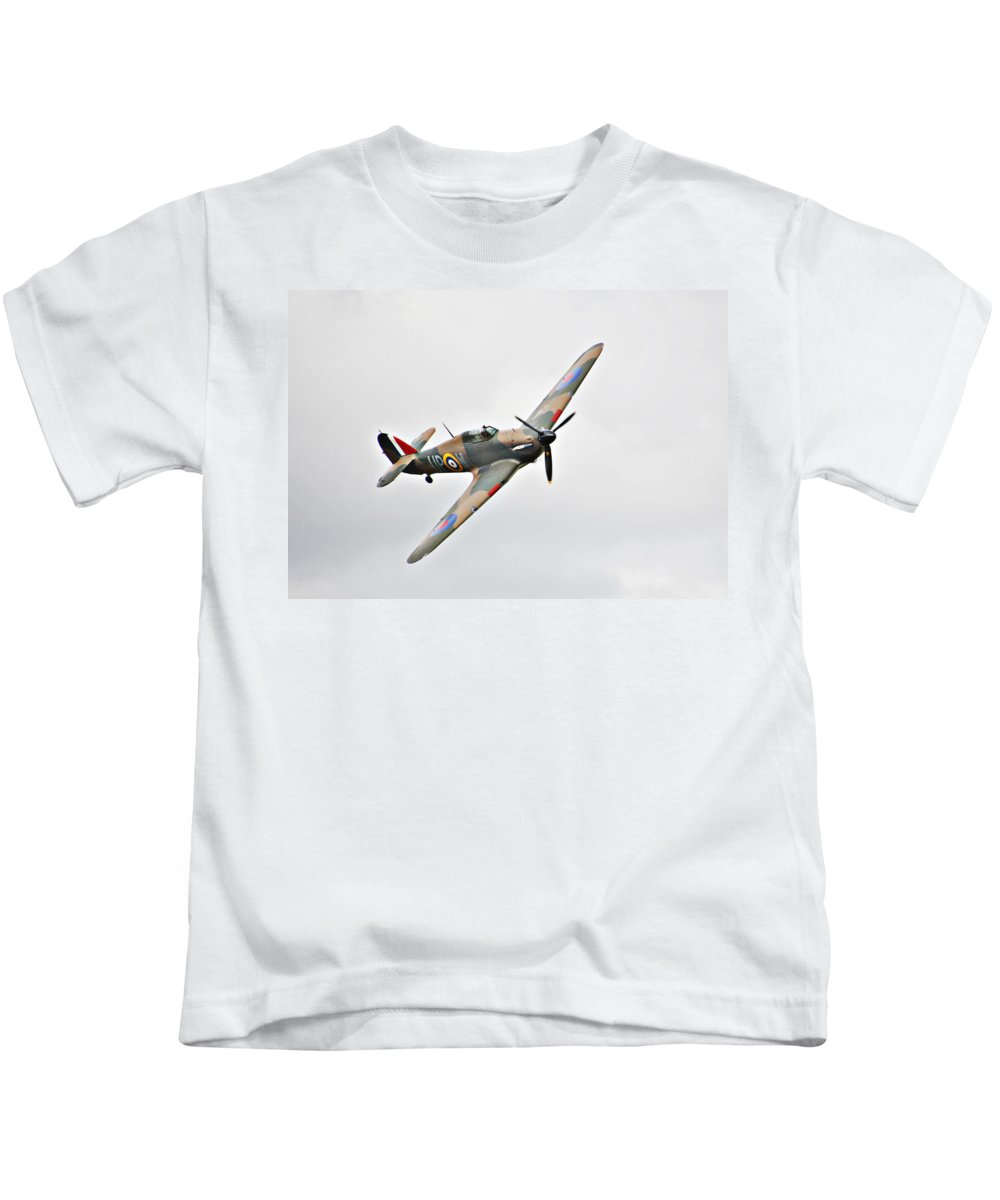 Plane Kids T-Shirt featuring the photograph Wwii Fighter Plane The Hurricane by Tom Conway