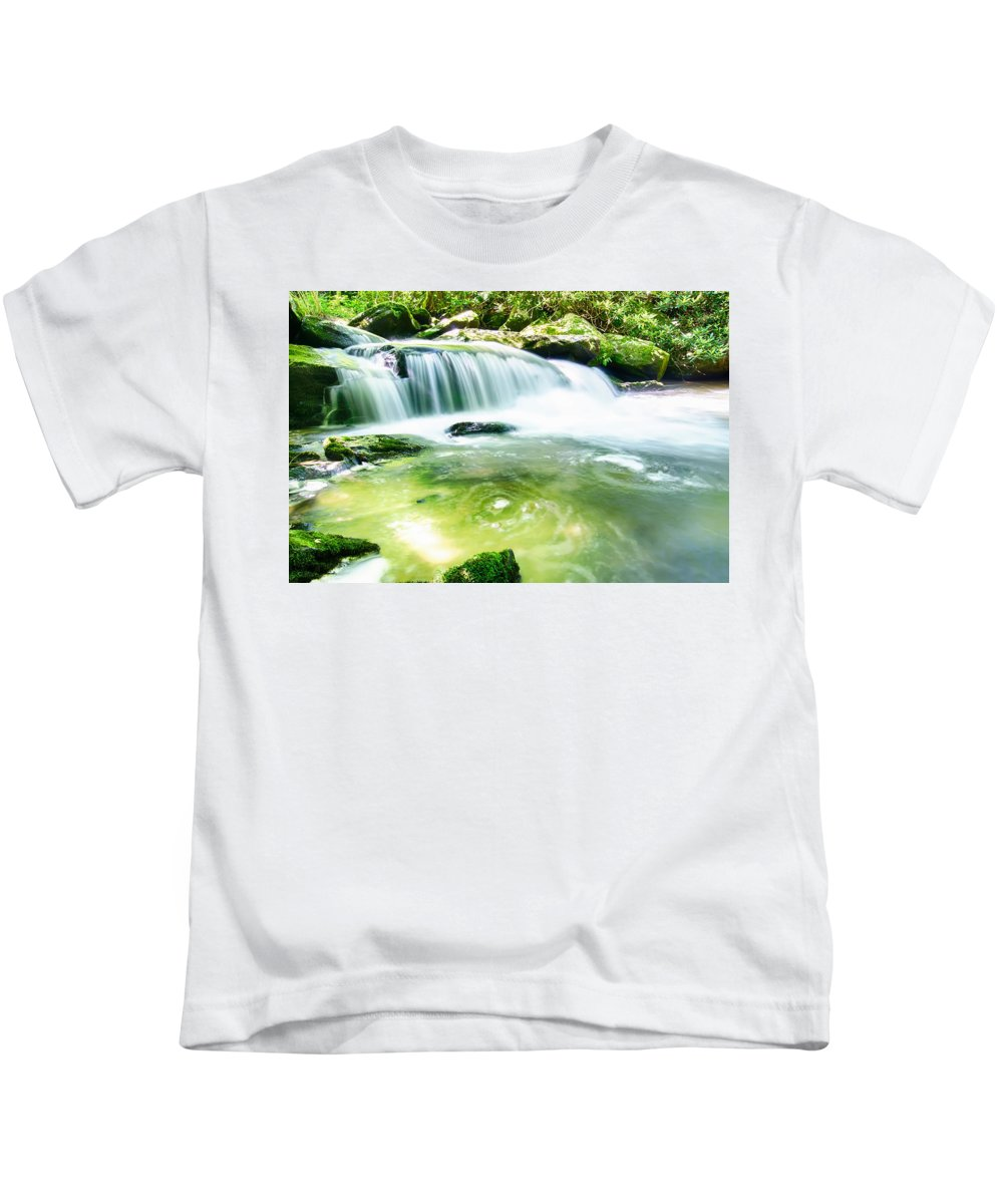 Autumn Kids T-Shirt featuring the photograph Yellow Creek Falls Great Smoky Mountains by Alex Grichenko