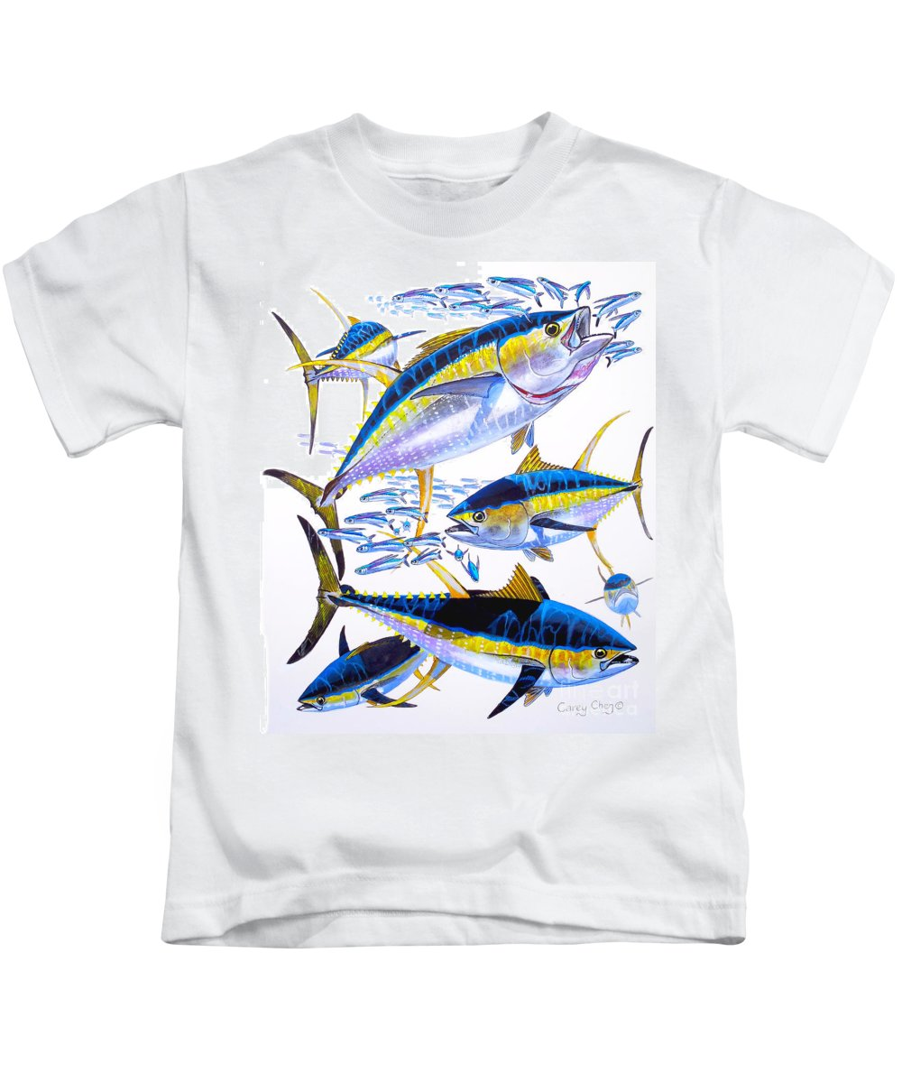 Yellowfin Tuna Kids T-Shirt featuring the painting Yellowfin Run by Carey Chen