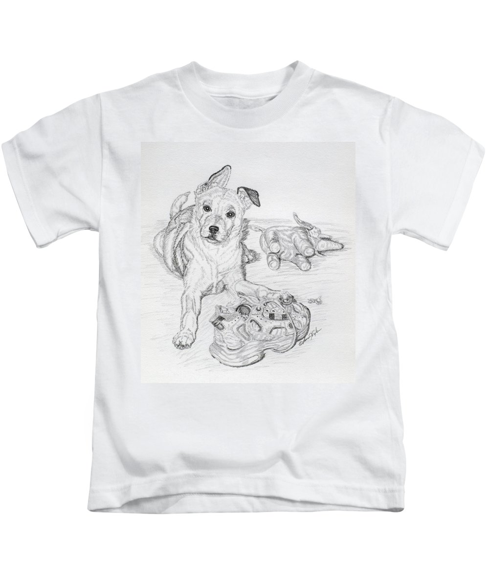 Animal Kids T-Shirt featuring the drawing Yes This Is My Toy by Lana Tyler