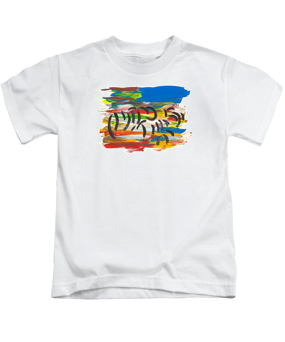 Contemporary Kids T-Shirt featuring the painting Zafari by Bjorn Sjogren