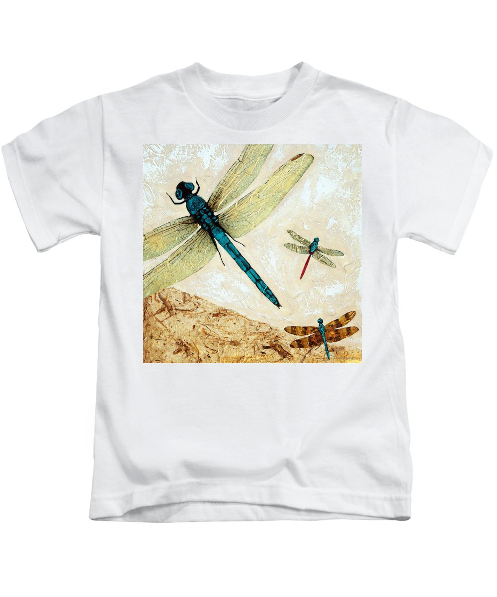 Dragonfly Kids T-Shirt featuring the painting Zen Flight - Dragonfly Art By Sharon Cummings by Sharon Cummings