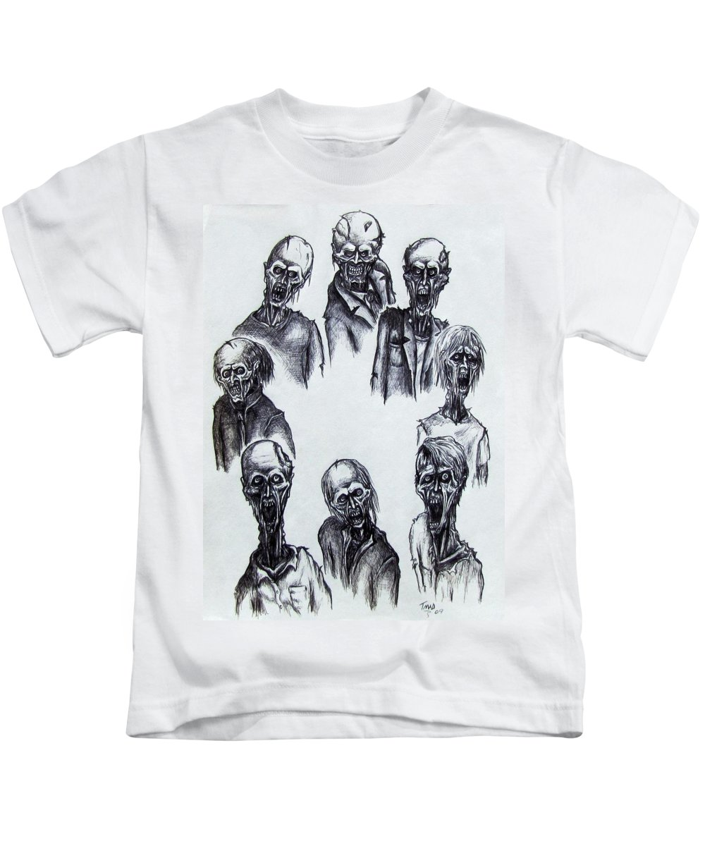 Michael Kids T-Shirt featuring the drawing Zombies by Michael TMAD Finney