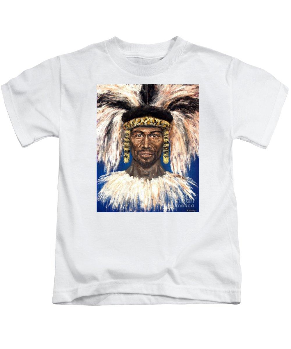 Zulu Kids T-Shirt featuring the painting Zulu Warrior by Arturas Slapsys