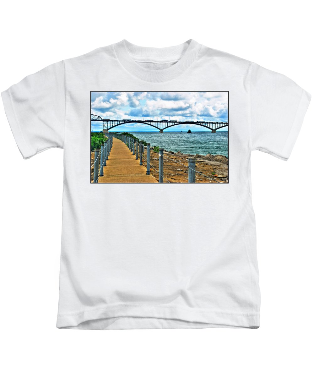 Kids T-Shirt featuring the photograph 004 Stormy Skies Peace Bridge Series by Michael Frank Jr