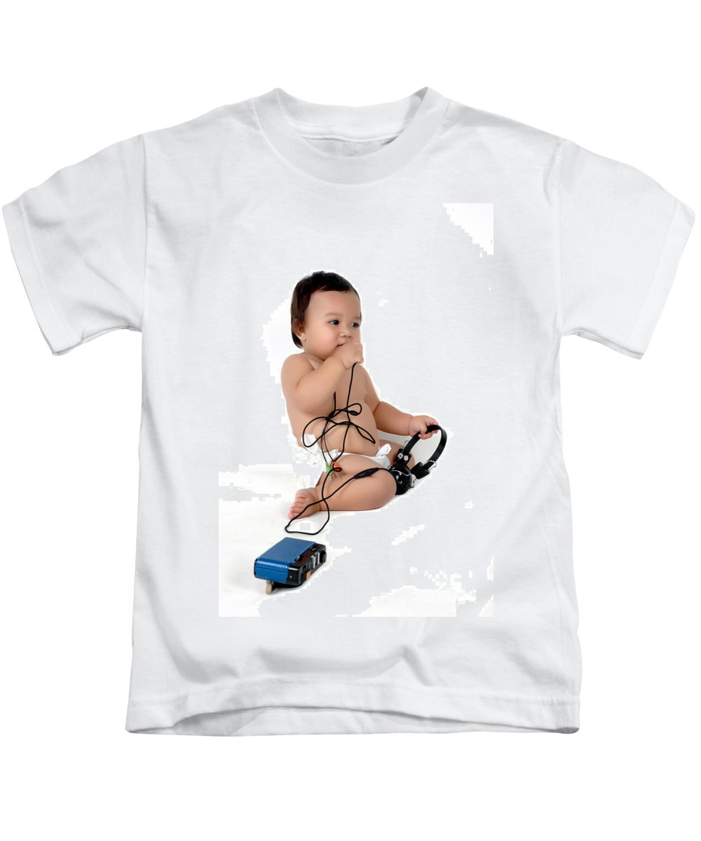 Baby Kids T-Shirt featuring the photograph A Chubby Little Girl Sit With A Vintage Camera by Antoni Halim