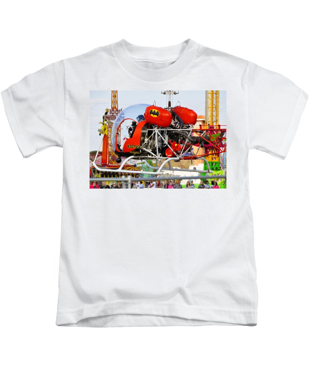 Fine Art Photography Kids T-Shirt featuring the photograph Batcopter by David Lee Thompson