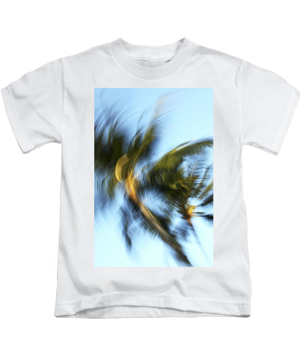 Abstract Kids T-Shirt featuring the photograph Blurred Palm Trees by Vince Cavataio - Printscapes