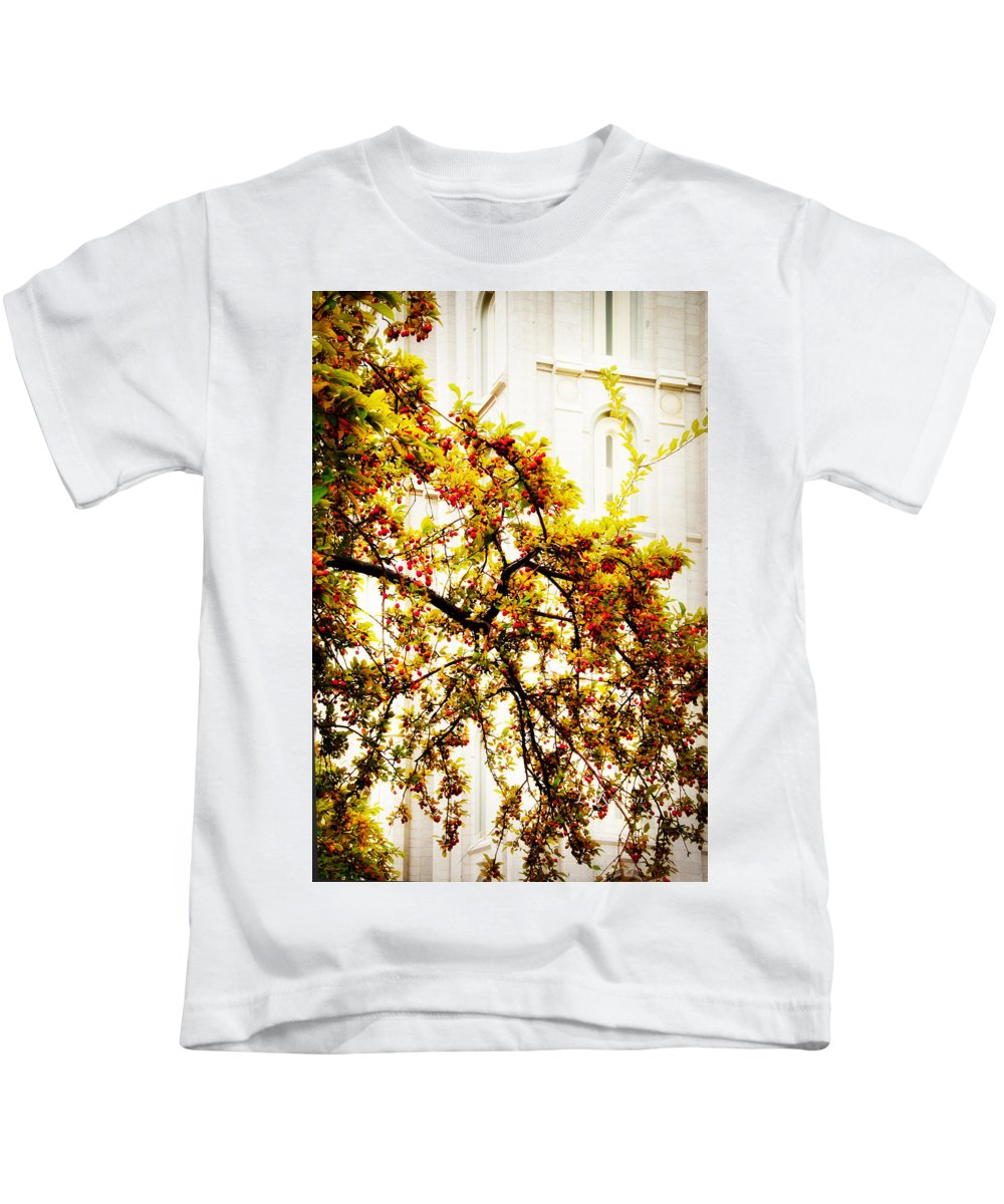 Salt Lake City Temple Kids T-Shirt featuring the photograph Branch Of Heaven by La Rae Roberts