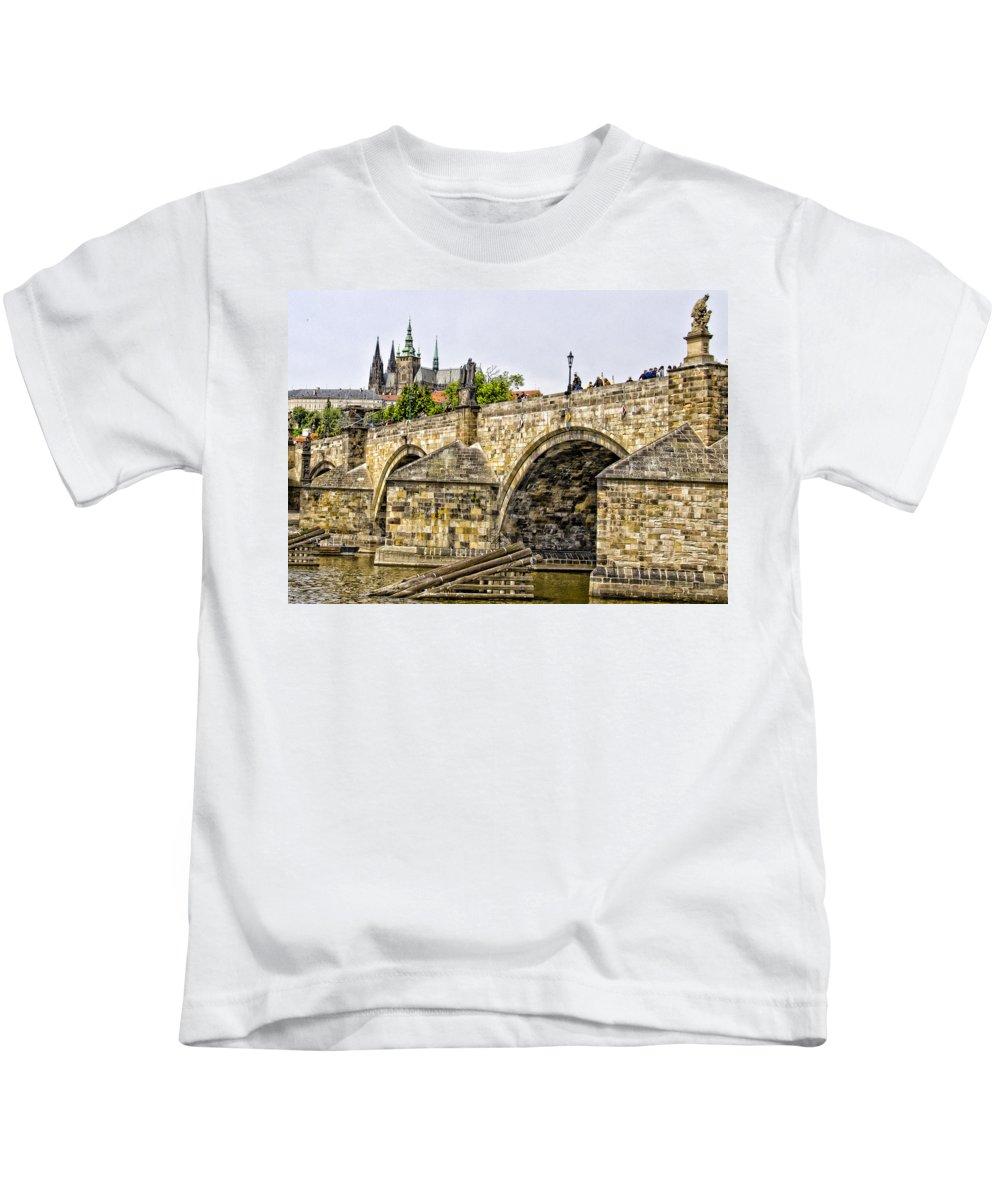 Prague Kids T-Shirt featuring the photograph Charles Bridge And Prague Castle by Jon Berghoff
