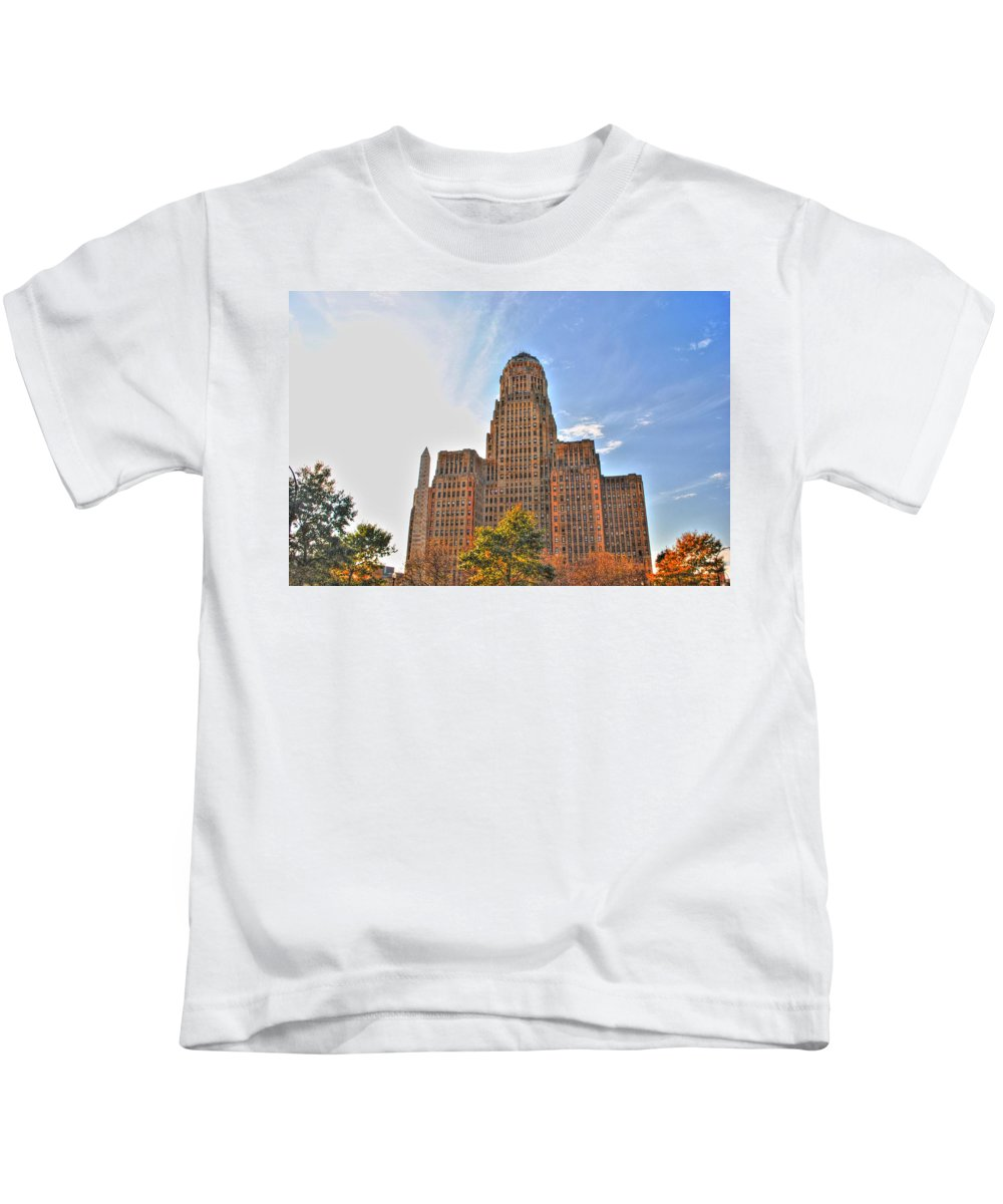 Kids T-Shirt featuring the photograph City Hall by Michael Frank Jr