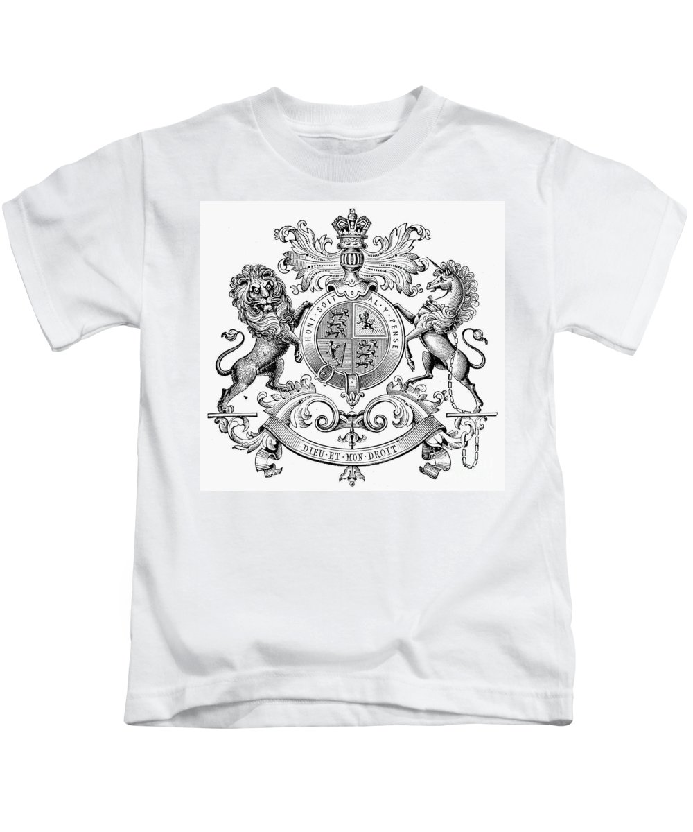 19th Century Kids T-Shirt featuring the photograph Coat Of Arms: Great Britain by Granger