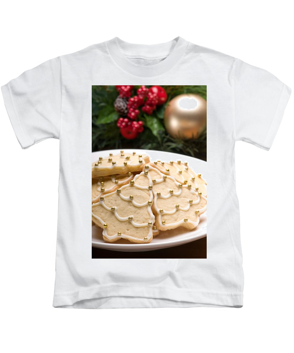 Glazed Kids T-Shirt featuring the photograph Decorated Cookies In Festive Setting by U Schade