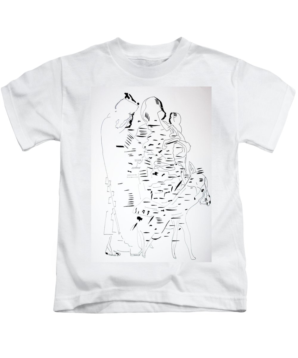 Jesus Kids T-Shirt featuring the drawing Flight Into Egypt by Gloria Ssali